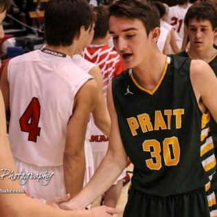 Members of the Pratt Greenbacks and Hoisington Cardinals shake hands following the game. The Hoisington Cardinals defeated the Pratt Greenbacks by a score of 47 to 41 in the Boys Championship game of the 2018 Hoisington Winter Jam at the Hoisington Activity Center in Hoisington, Kansas on January 20, 2018. (Photo: Joey Bahr, www.joeybahr.com)