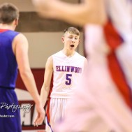 Ellinwood Eagle #5 Brandon Carr calls out the play to be ran. The Russell Broncos defeated the Ellinwood Eagles by a score of 60 to 17 in the Consolation Semi-Final of the 2018 Hoisington Winter Jam at the Hoisington Activity Center in Hoisington, Kansas on January 18, 2018. (Photo: Joey Bahr, www.joeybahr.com)