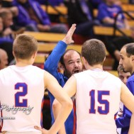 Ellinwood Eagle Head Coach Derek Joiner addresses his players during a timeout. The Russell Broncos defeated the Ellinwood Eagles by a score of 60 to 17 in the Consolation Semi-Final of the 2018 Hoisington Winter Jam at the Hoisington Activity Center in Hoisington, Kansas on January 18, 2018. (Photo: Joey Bahr, www.joeybahr.com)