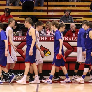 Members of the Russell Broncos and Ellinwood Eagles shake hands following the game. The Russell Broncos defeated the Ellinwood Eagles by a score of 60 to 17 in the Consolation Semi-Final of the 2018 Hoisington Winter Jam at the Hoisington Activity Center in Hoisington, Kansas on January 18, 2018. (Photo: Joey Bahr, www.joeybahr.com)