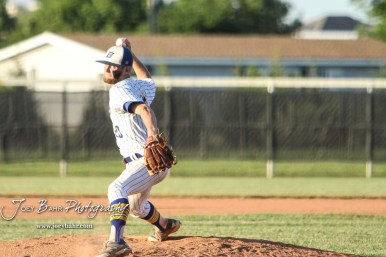 Bluestem Lion #20 Blake Bevan throws a pitch in the bottom of the third inning. The Spearville Royal Lancers defeated the Bluestem Lions 5 to 1 in the KSHSAA Class 2-1A State Baseball Quarterfinal at the Great Bend Sports Complex in Great Bend, Kansas on May 24, 2018. (Photo: Joey Bahr, www.joeybahr.com)