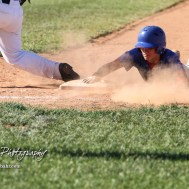 West Elk Patriot #13 Colby Jackson gets back to the first base bag in time in the bottom of the fourth inning. The Chase County Bulldogs defeated the West Elk Patriots 16 to 5 in the KSHSAA Class 2-1A State Baseball Quarterfinal at the Great Bend Sports Complex in Great Bend, Kansas on May 24, 2018. (Photo: Joey Bahr, www.joeybahr.com)