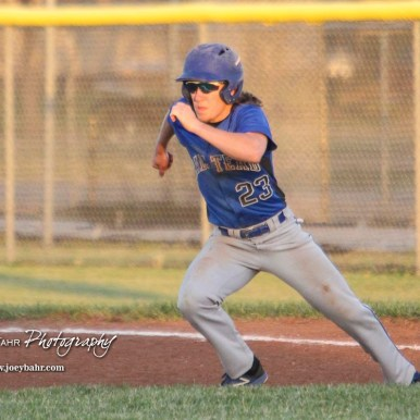 Halstead Dragon Bryant Odendahl (#23) jumps to make a move towards second in the top of the fifth inning. The Hoisington Cardinals defeated the Halstead Dragons by a score of 10 to 6 at Legion Field in Hoisington, Kansas on April 27, 2018. (Photo: Joey Bahr, www.joeybahr.com)