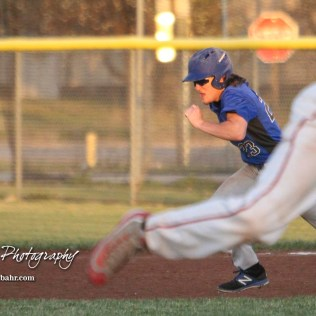 Halstead Dragon Bryant Odendahl (#23) sprints towards second base in the top of the fifth inning. The Hoisington Cardinals defeated the Halstead Dragons by a score of 10 to 6 at Legion Field in Hoisington, Kansas on April 27, 2018. (Photo: Joey Bahr, www.joeybahr.com)
