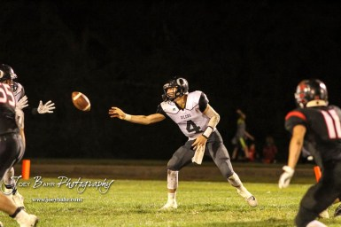 Central Plains Oiler #4 Myles Menges tosses the ball to a teammate in the third quarter. The Central Plains Oilers defeated the Little River Redskins by a score of 46 to 0 at Community Memorial Park in Little River, Kansas on September 21, 2018. (Photo: Joey Bahr, www.joeybahr.com)