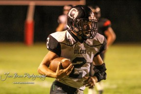 Central Plains Oiler #2 Jerred Bieberle nears the end zone in the third quarter. The Central Plains Oilers defeated the Little River Redskins by a score of 46 to 0 at Community Memorial Park in Little River, Kansas on September 21, 2018. (Photo: Joey Bahr, www.joeybahr.com)