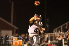 Central Plains Oiler #4 Myles Menges throws a pass in the third quarter. The Central Plains Oilers defeated the Little River Redskins by a score of 46 to 0 at Community Memorial Park in Little River, Kansas on September 21, 2018. (Photo: Joey Bahr, www.joeybahr.com)