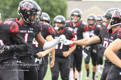 Great Bend Panther #1 Bryce Brown and #81 Sam Ryan bump fists during warmups. The Hays Indians faced off with the Great Bend Panthers at Memorial Stadium in Great Bend, Kansas on September 7, 2018. (Photo: Joey Bahr, www.joeybahr.com)