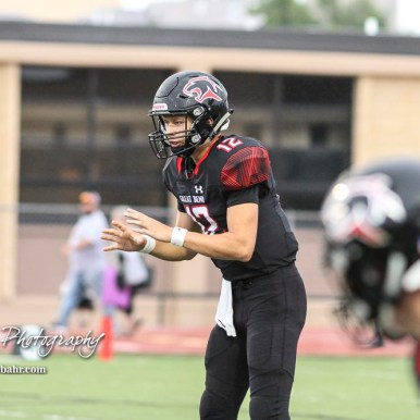 Great Bend Panther #12 Koy Brack waits for the ball to be snapped to him in the in the first quarter. The Hays Indians faced off with the Great Bend Panthers at Memorial Stadium in Great Bend, Kansas on September 7, 2018. (Photo: Joey Bahr, www.joeybahr.com)