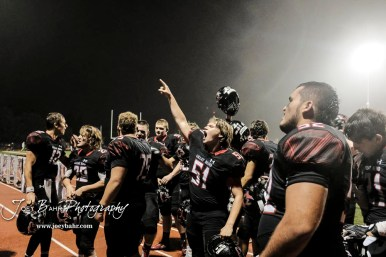 Great Bend Panther #51 Demetri Slrickland cries out to the student section after the game. The Great Bend Panthers defeated the Hays Indians with a score of 15 to 7 at Memorial Stadium in Great Bend, Kansas on September 7, 2018. (Photo: Joey Bahr, www.joeybahr.com)