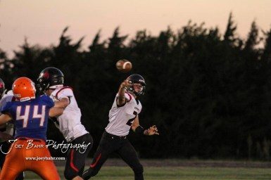 Stafford Trojan #2 Justice Manning throws a pass. The Stafford Trojans faced the Otis-Bison Cougars at Cougar Field in Otis, Kansas on September 14, 2018. (Photo: Joey Bahr, www.joeybahr.com)