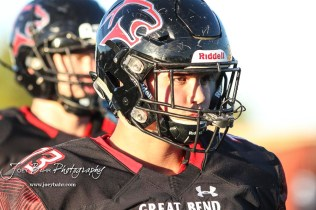 Great Bend Panther #73 Andrew Wettengel looks at a teammate during warmups. The Great Bend Panthers defeated the Garden City Buffaloes 49 to 6 at Memorial Stadium in Great Bend, Kansas on October 19, 2018. (Photo: Joey Bahr, www.joeybahr.com)