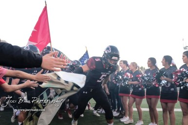 Great Bend Panther #5 Brock Blessing leads his team onto the field prior to the game. The Garden City Buffaloes traveled to face the Great Bend Panthers at Memorial Stadium in Great Bend, Kansas on October 19, 2018. (Photo: Joey Bahr, www.joeybahr.com)