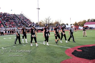 Senior team captains go to the center of the field for the coin toss. The Great Bend Panthers defeated the Garden City Buffaloes 49 to 6 at Memorial Stadium in Great Bend, Kansas on October 19, 2018. (Photo: Joey Bahr, www.joeybahr.com)