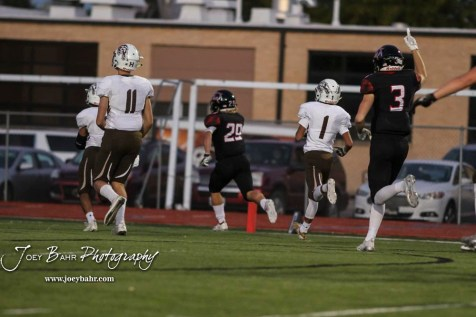 Great Bend Panther #29 Gage Fritz heads for the end zone for his first of two touchdowns on the night. The Great Bend Panthers defeated the Garden City Buffaloes 49 to 6 at Memorial Stadium in Great Bend, Kansas on October 19, 2018. (Photo: Joey Bahr, www.joeybahr.com)