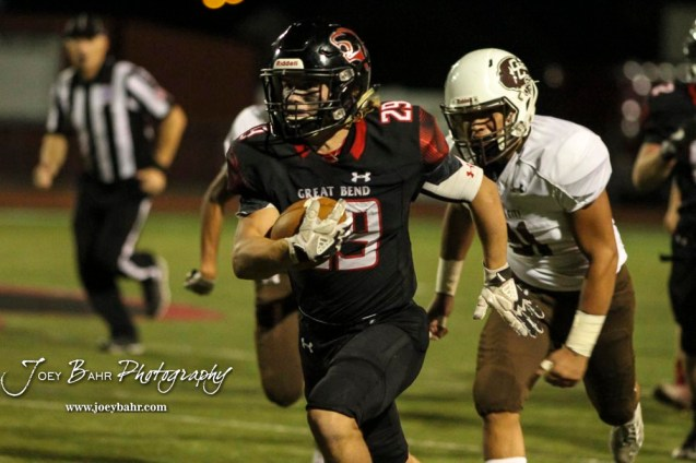 Great Bend Panther #29 Gage Fritz takes off on a long run in the third quarter. The Great Bend Panthers defeated the Garden City Buffaloes 49 to 6 at Memorial Stadium in Great Bend, Kansas on October 19, 2018. (Photo: Joey Bahr, www.joeybahr.com)