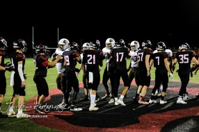 Members of the Garden City Buffaloes and Great Bend Panthers shake hands following the game. The Great Bend Panthers defeated the Garden City Buffaloes 49 to 6 at Memorial Stadium in Great Bend, Kansas on October 19, 2018. (Photo: Joey Bahr, www.joeybahr.com)