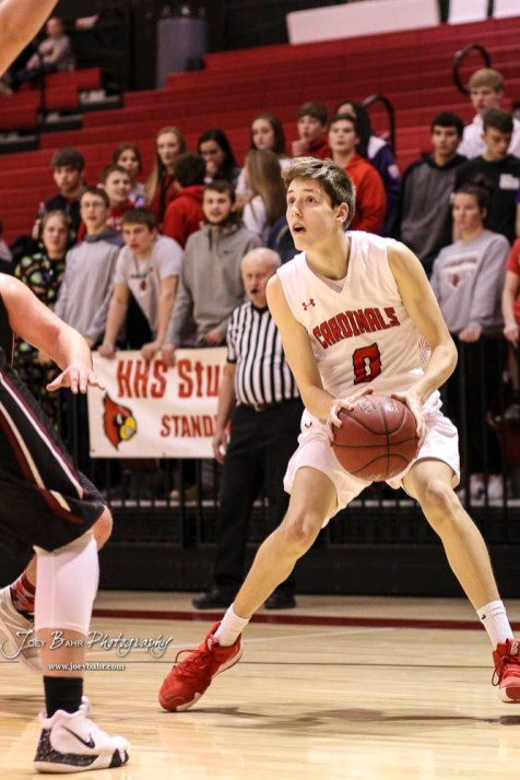 Hoisington Cardinal #0 Drew Nicholson pulls up to line up a shot in the third quarter. The Hoisington Cardinals defeated the Plainville Cardinals by a score of 70 to 53 at the Hoisington Activity Center in Hoisington, Kansas on February 5, 2019. (Photo: Joey Bahr, www.joeybahr.com)