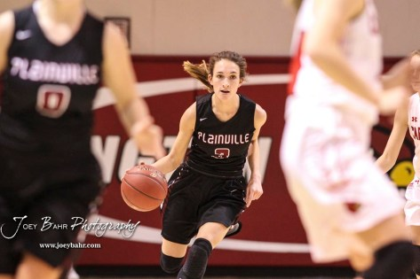 Plainville Lady Cardinal #3 Aubree Dewey drives down the court with the ball in the second quarter. The Plainville Lady Cardinals defeated the Hoisington Lady Cardinals by a score of 49 to 35 at the Hoisington Activity Center in Hoisington, Kansas on February 5, 2019. (Photo: Joey Bahr, www.joeybahr.com)