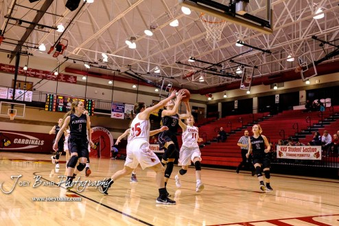 Plainville Lady Cardinal #3 Aubree Dewey drives to the basket as Hoisington Lady Cardinal #25 Maleigha Schmidt tries to get in the way in the second quarter. The Plainville Lady Cardinals defeated the Hoisington Lady Cardinals by a score of 49 to 35 at the Hoisington Activity Center in Hoisington, Kansas on February 5, 2019. (Photo: Joey Bahr, www.joeybahr.com)