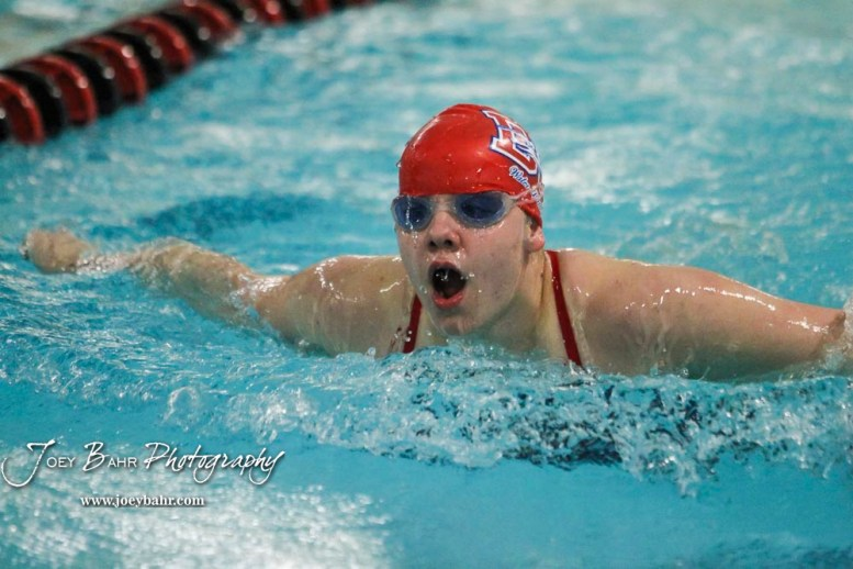 Paige Mink of Dodge City takes a breathe during the 200 yard IM. The Great Bend Girls Swimming Invitational was held at the Kirkman Activity Center on the campus of Barton Community College in Great Bend on 4 20190426, 2019. (Photo: Joey Bahr, www.joeybahr.com)