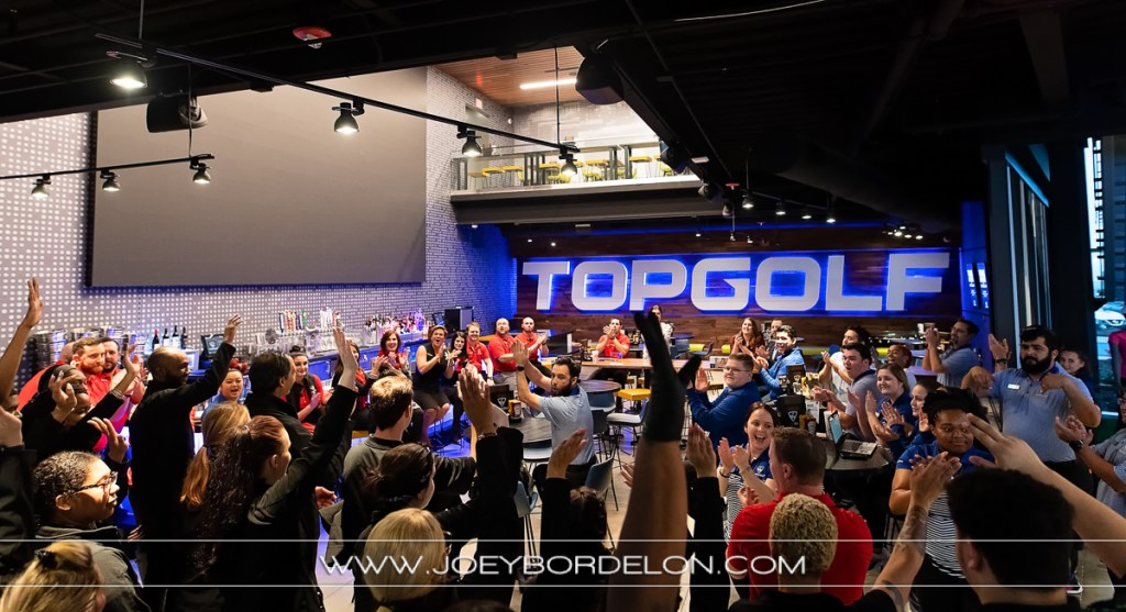 Staff memebers of Top Golf Baton Rouge location celebrating their opening