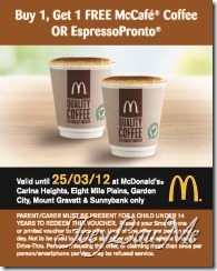 Buy 1, Get 1 FREE McCafe Coffee or EspressoPronto
