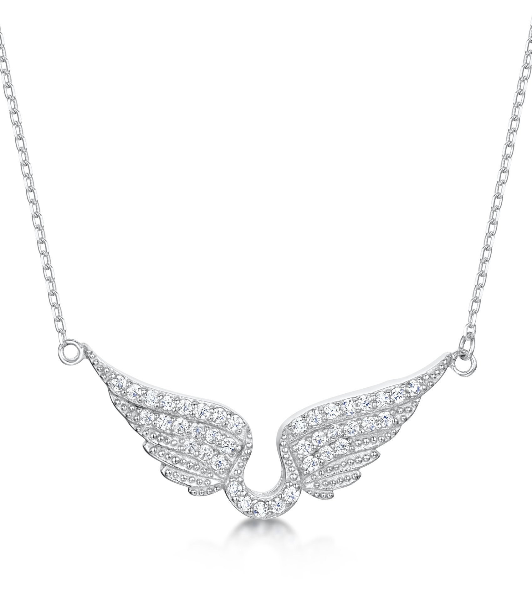 Cubic Zirconia Angel Wings Necklace In Sterling Silver