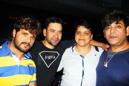 khesari lal and nirahuwa in bhojpuri film producer mdhuvendra rai birthday party