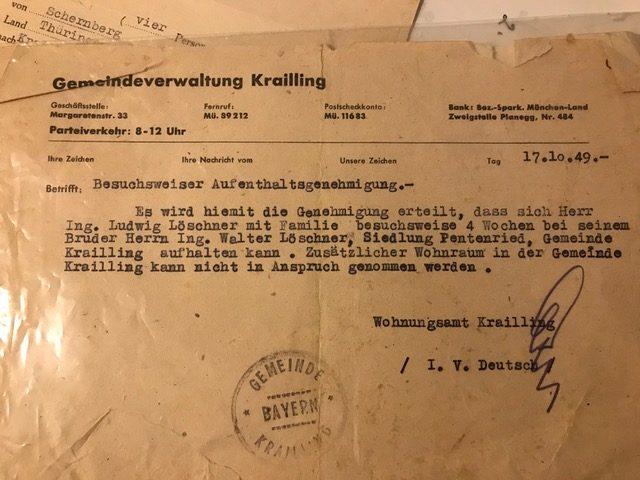 Aufenthaltsgenehmigung 1949