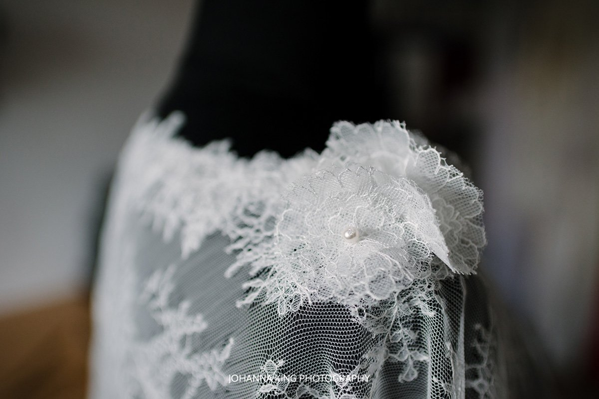 Detail of Sarah's twinkle bridal bolero
