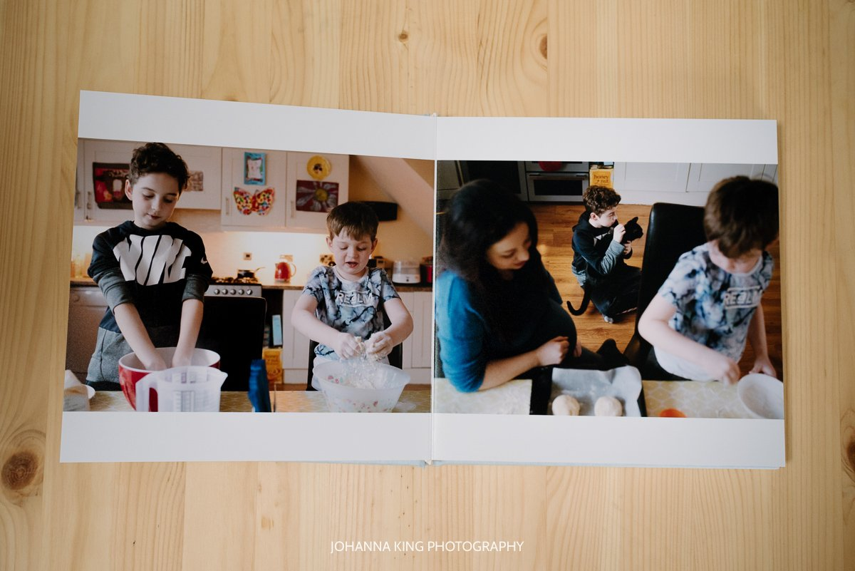 Photo Album spread showing brothers baking