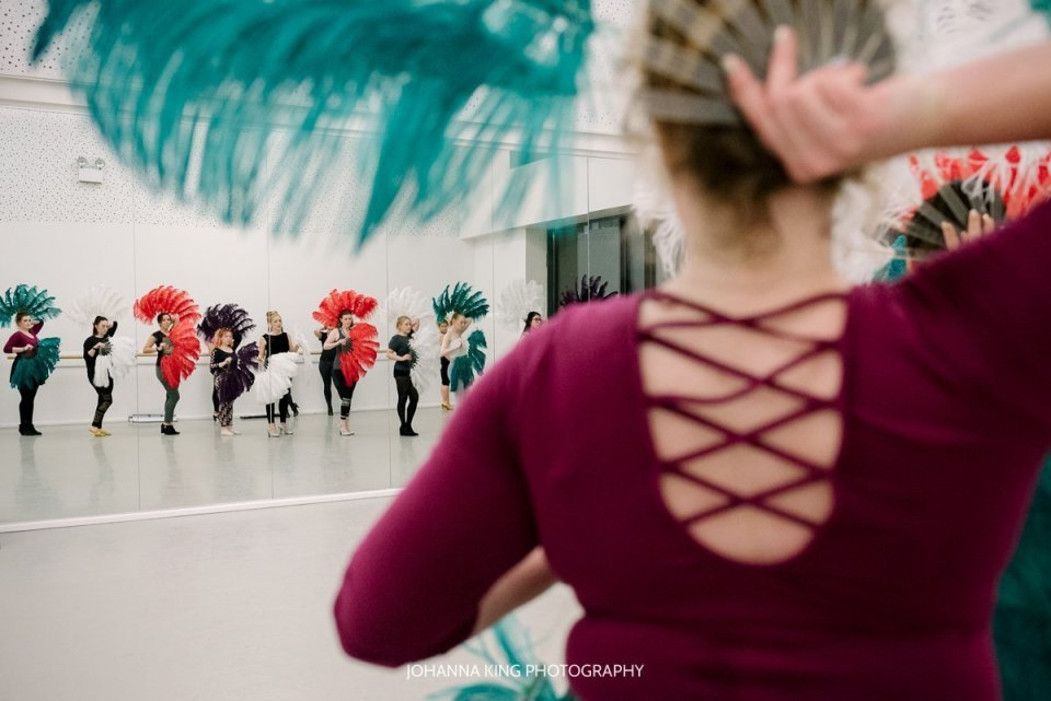 Behind-the-scene photographs of a burlesque dance class with Lisa at the Irish Burlesque Academy