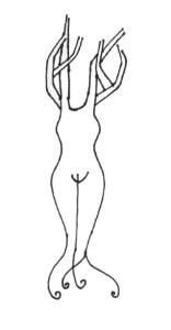 """tekening Geert Pas: """"boomvrouw"""""""