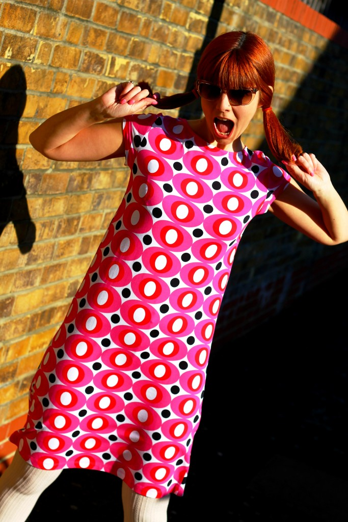 Pink 60s inspired print dress by Me&I