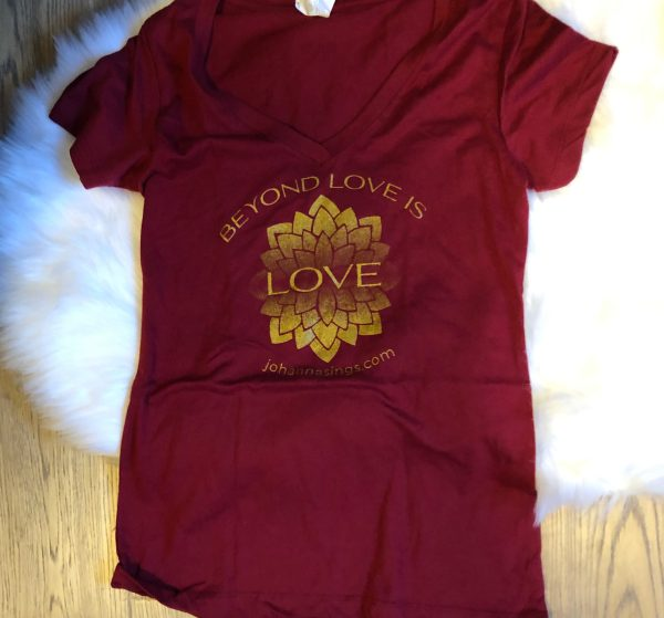 Beyond Love Women's V-neck Tee, Maroon With Gold