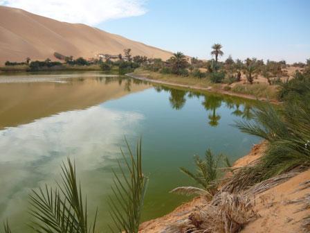 Lake Gabron, one of the Germa Lakes, Fezzan, Libya