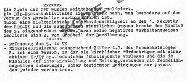 """Einschätzung """"Z"""" durch Stasi"""