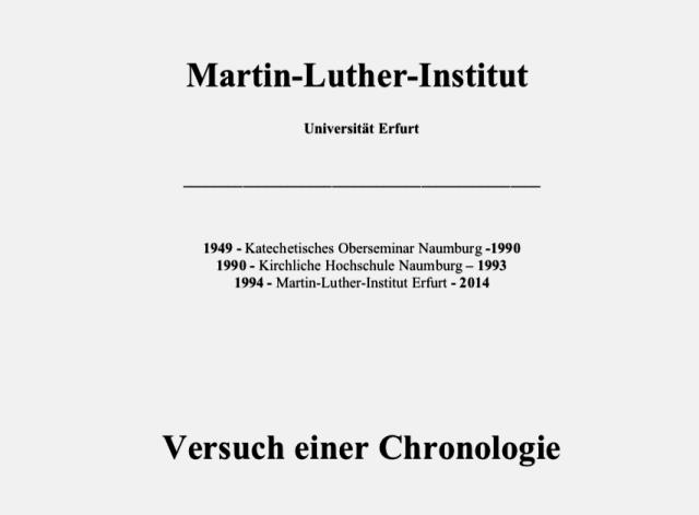 Titel zum Aufsatz Geschichte Martin-Luther-Institut
