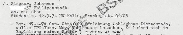 """""""versuchter"""" Grenzdurchbruch 1974"""