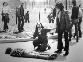 Jeffrey Miller lying face down after being shot at the Kent State University war protest, May 4, 1970.