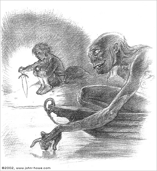 John Howe sketch of Gollum & Bilbo