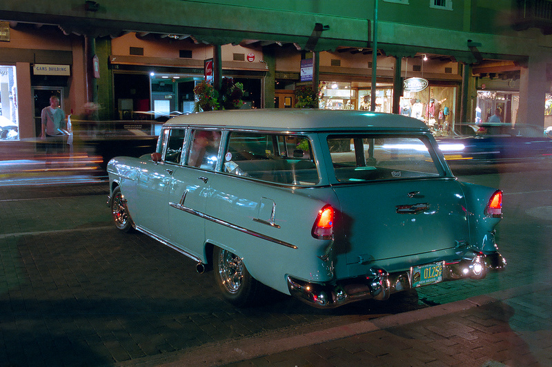 Vintage automobiles on the plaza one evening in Santa Fe, New Mexico