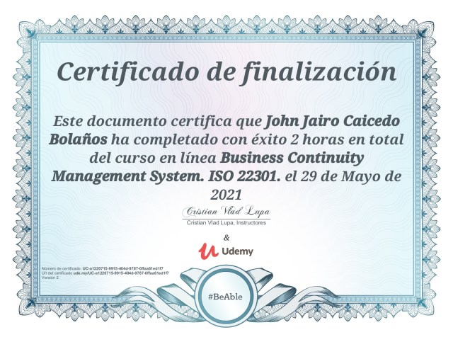 Business Continuity Management Systems – ISO 22301