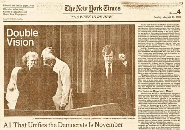 Iconic image from the 1980 Democratic Convention.
