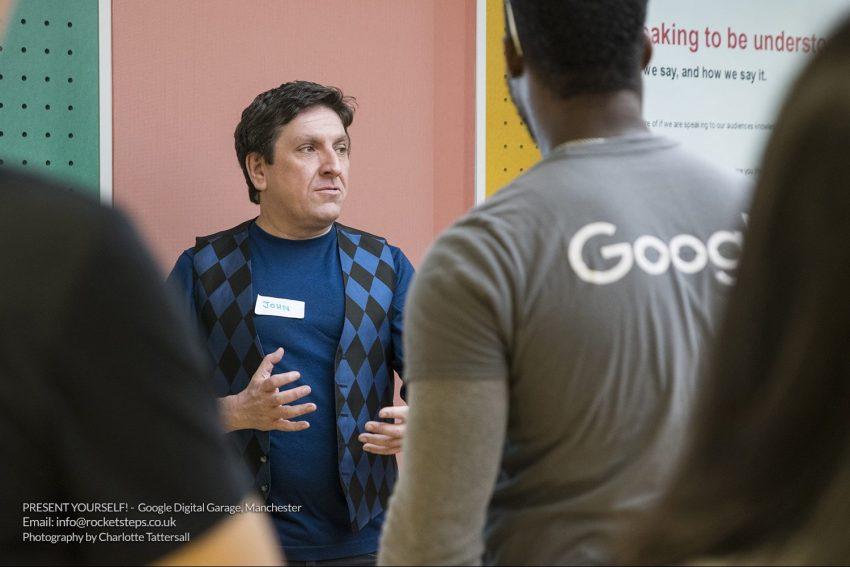 Speaker John Cooper's workshop at Google Digital Garage Manchester.