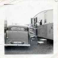 Aunt Vi and granddad Sam Cooper enjoying their caravan