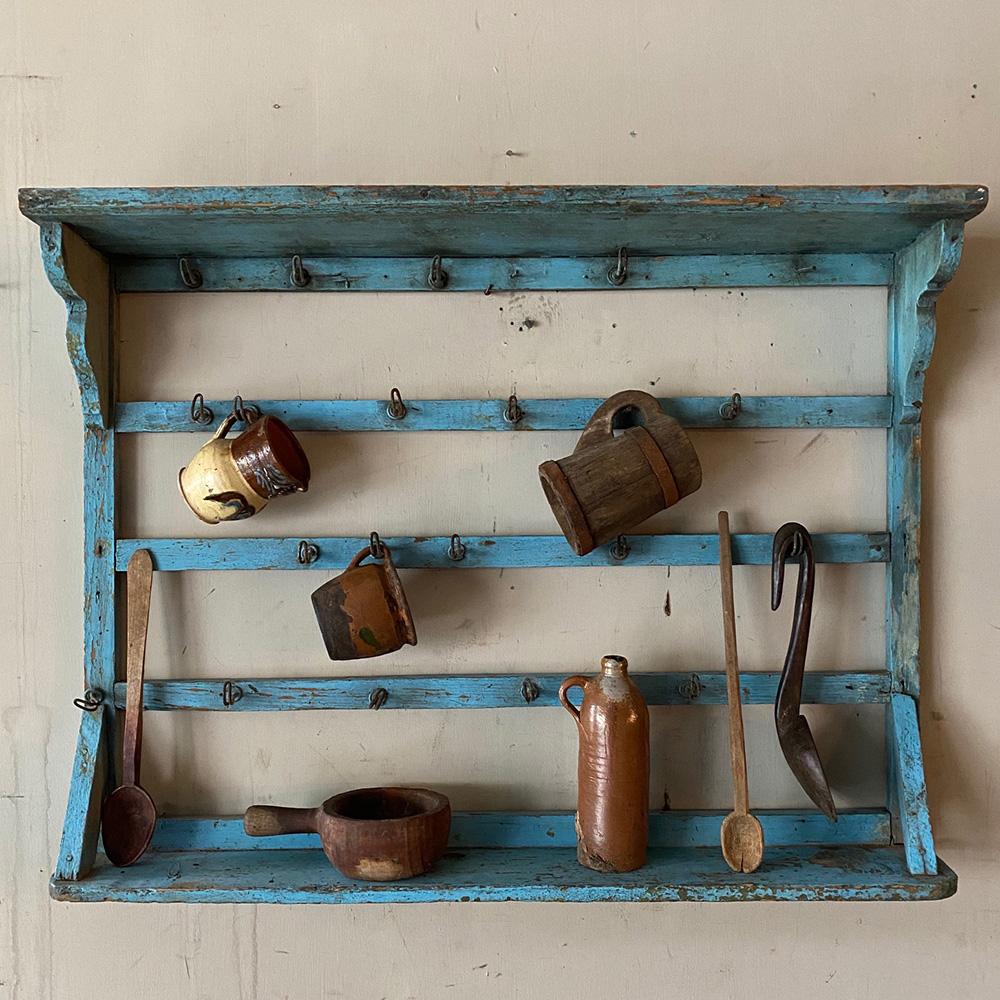 antique pine mug rack or hanging dresser in original paint