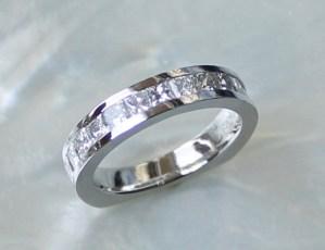 diamond wedding band, platinum