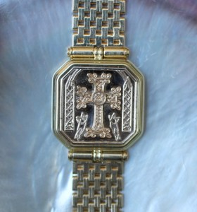 14K gold link watch band Armenian cross design